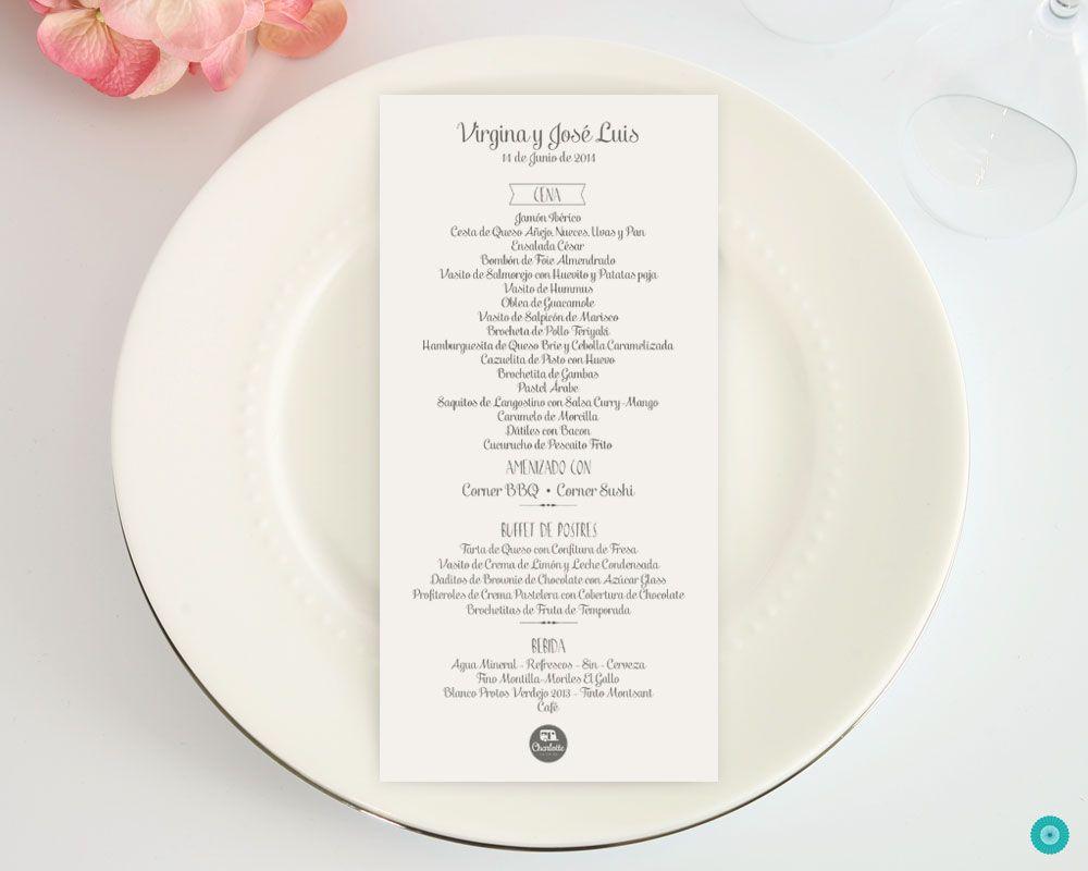 diseño de menu para bodas